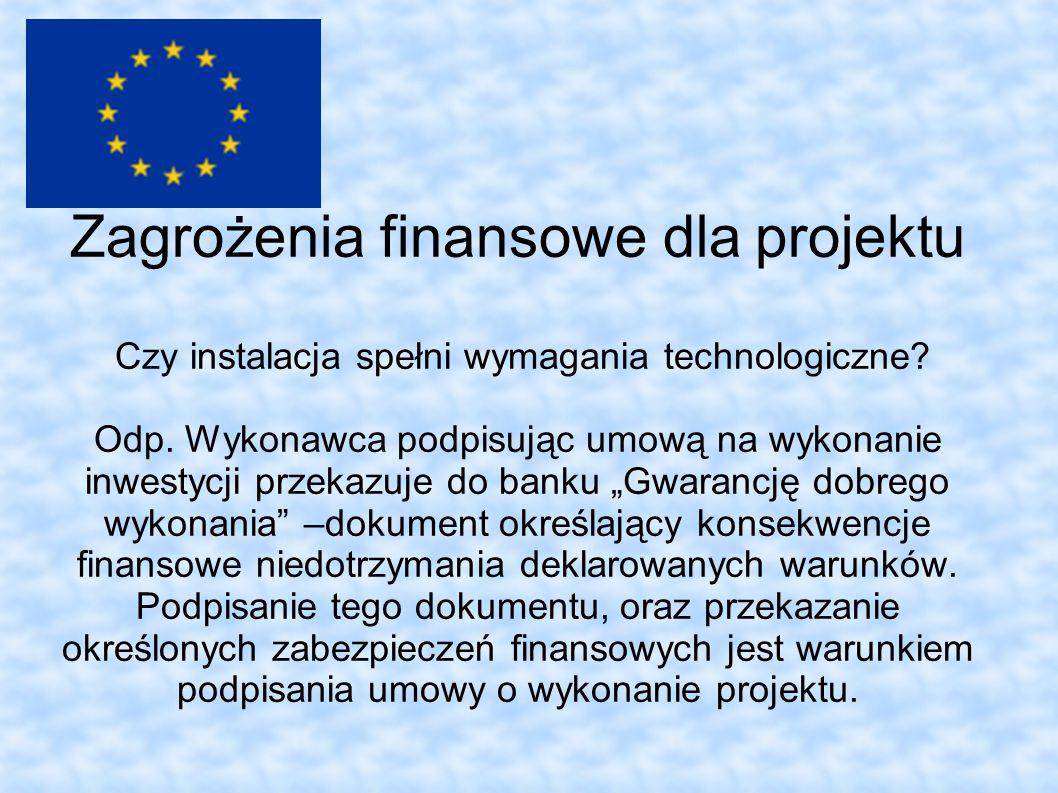 Zagrożenia finansowe dla projektu Czy instalacja spełni wymagania technologiczne.