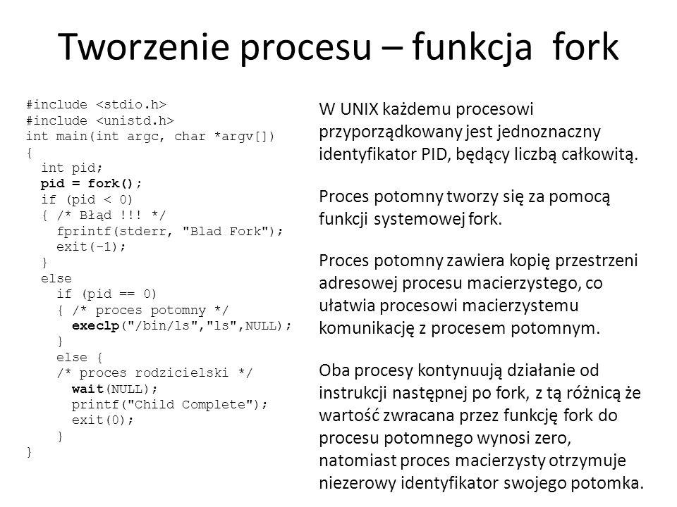Tworzenie procesu – funkcja fork