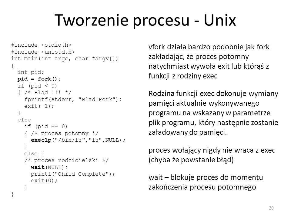 Tworzenie procesu - Unix