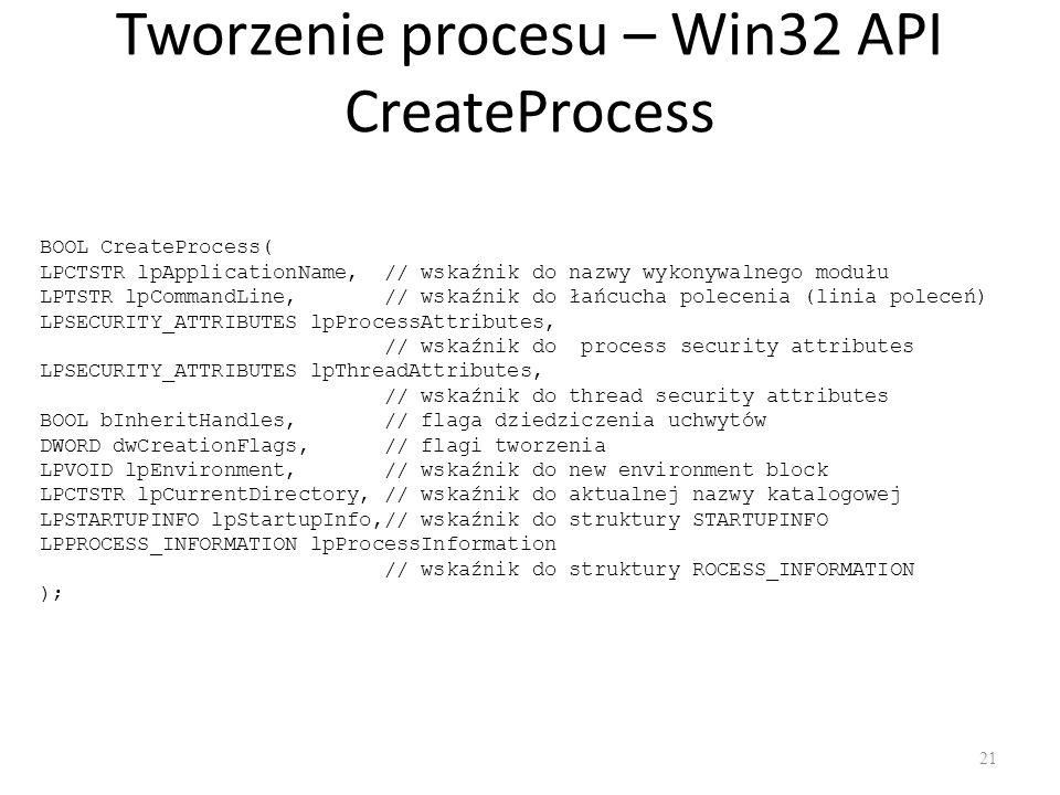 Tworzenie procesu – Win32 API CreateProcess