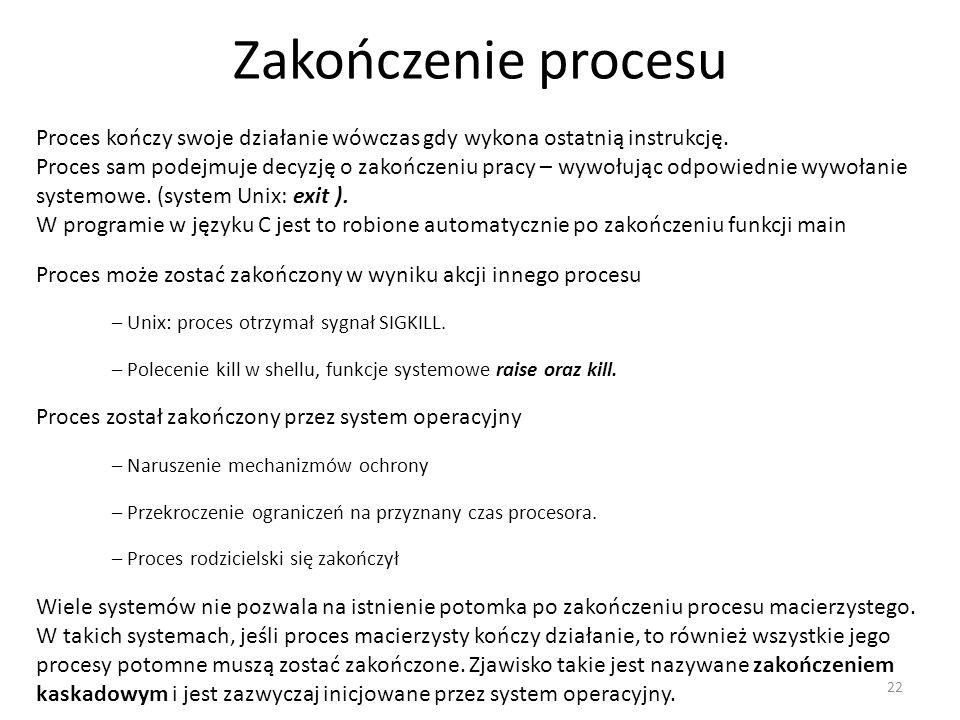Zakończenie procesu Proces kończy swoje działanie wówczas gdy wykona ostatnią instrukcję.