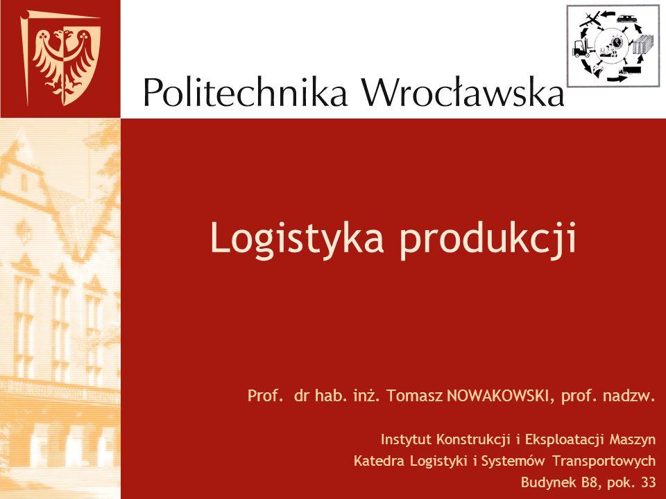 Logistyka produkcji Prof. dr hab. inż. Tomasz NOWAKOWSKI, prof. nadzw.