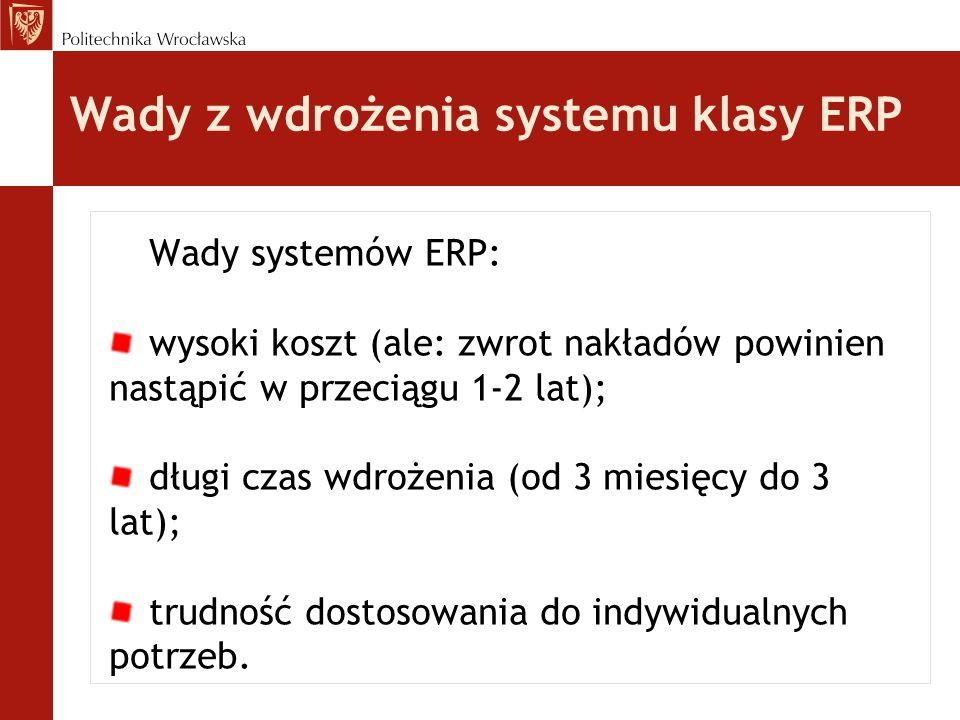Wady z wdrożenia systemu klasy ERP