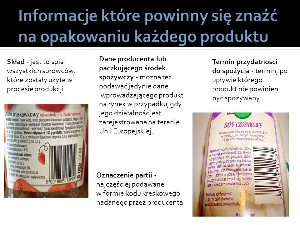 Informacje które powinny się znaźć na opakowaniu każdego produktu
