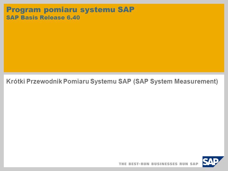 Program pomiaru systemu SAP SAP Basis Release 6.40