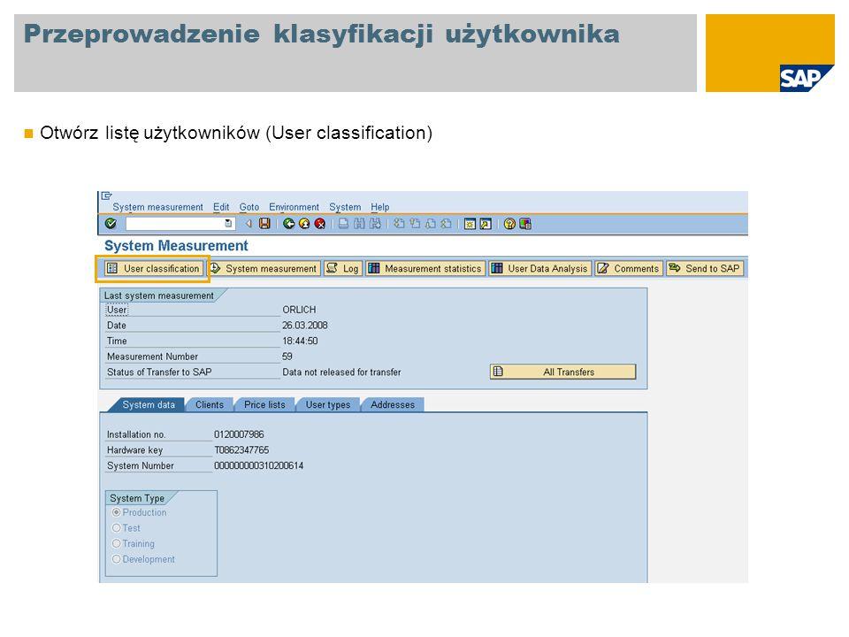 Przeprowadzenie klasyfikacji użytkownika