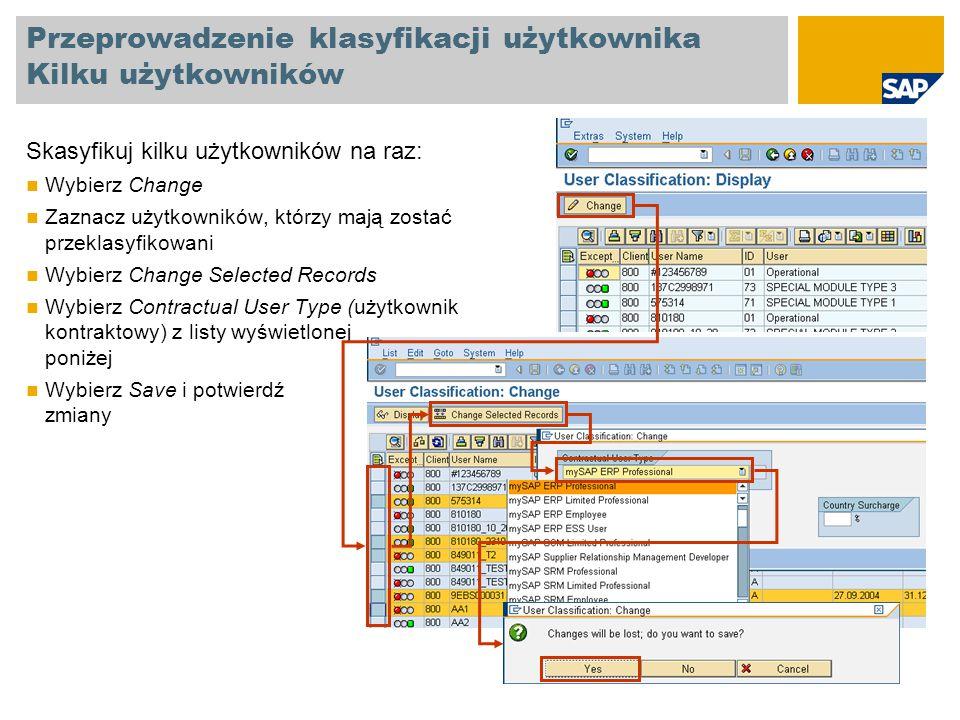 Przeprowadzenie klasyfikacji użytkownika Kilku użytkowników