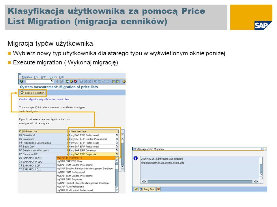 Klasyfikacja użytkownika za pomocą Price List Migration (migracja cenników)