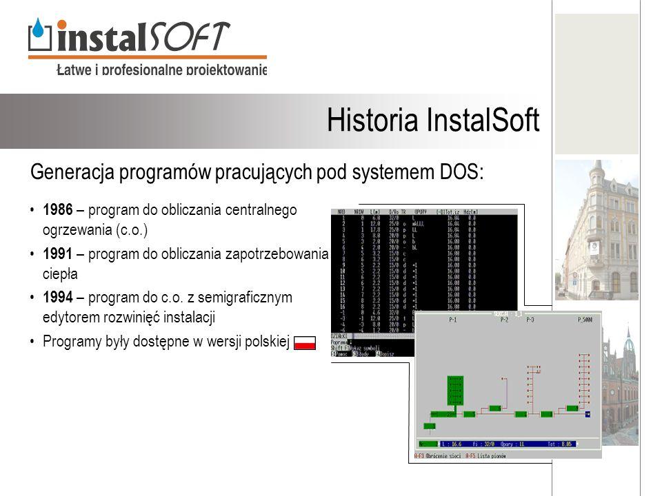 Historia InstalSoft Generacja programów pracujących pod systemem DOS: