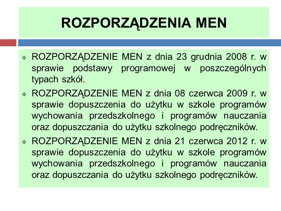 ROZPORZĄDZENIA MEN ROZPORZĄDZENIE MEN z dnia 23 grudnia 2008 r. w sprawie podstawy programowej w poszczególnych typach szkół.