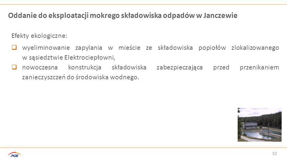 Oddanie do eksploatacji mokrego składowiska odpadów w Janczewie