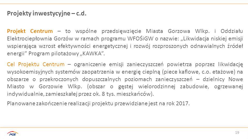 Projekty inwestycyjne – c.d.