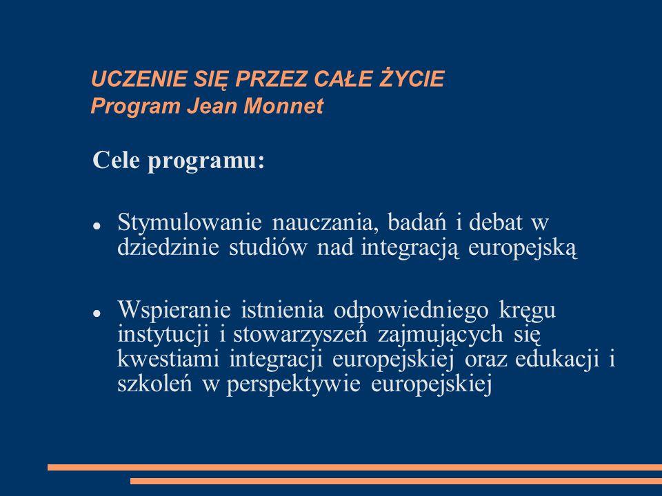 UCZENIE SIĘ PRZEZ CAŁE ŻYCIE Program Jean Monnet