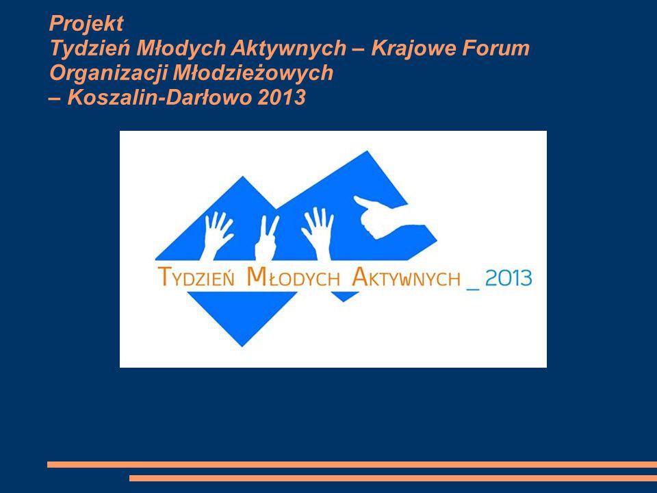 Projekt Tydzień Młodych Aktywnych – Krajowe Forum Organizacji Młodzieżowych – Koszalin-Darłowo 2013