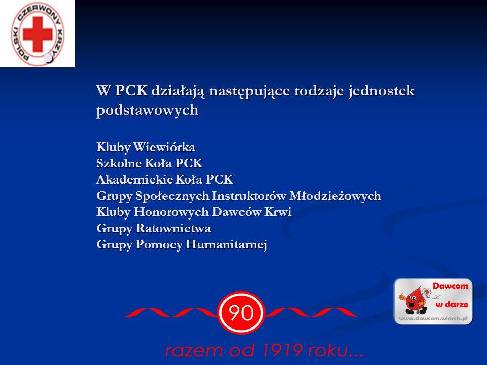 W PCK działają następujące rodzaje jednostek podstawowych Kluby Wiewiórka Szkolne Koła PCK Akademickie Koła PCK Grupy Społecznych Instruktorów Młodzieżowych Kluby Honorowych Dawców Krwi Grupy Ratownictwa Grupy Pomocy Humanitarnej