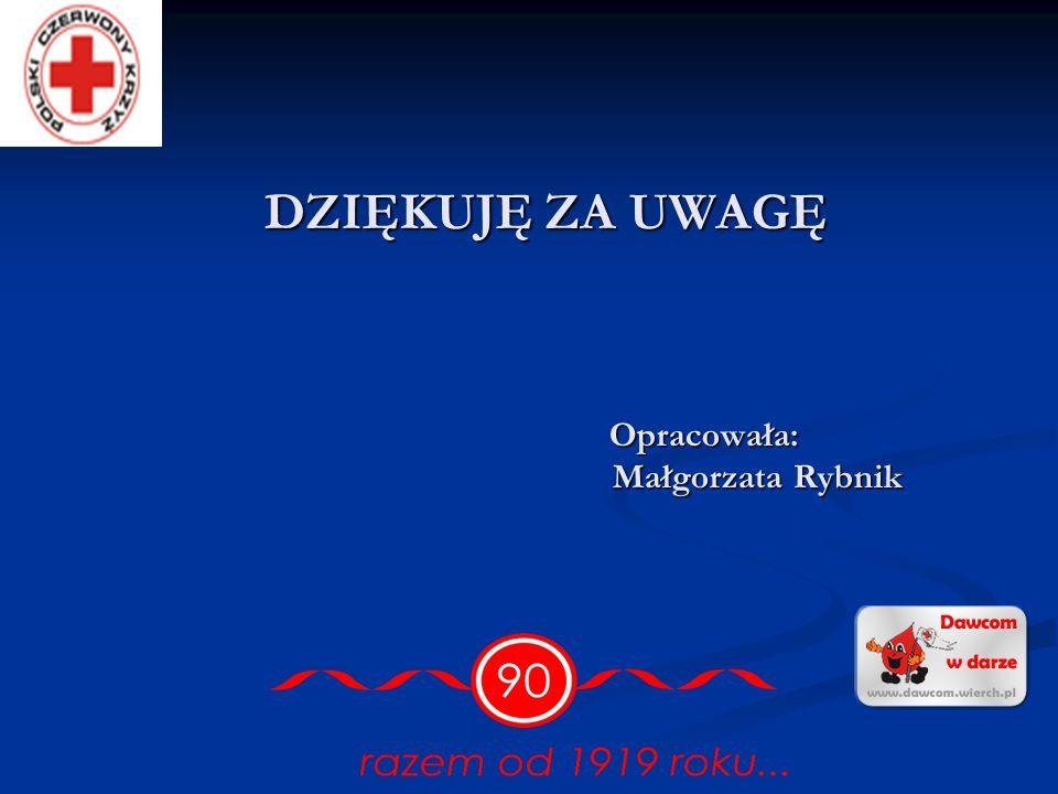 DZIĘKUJĘ ZA UWAGĘ Opracowała: Małgorzata Rybnik