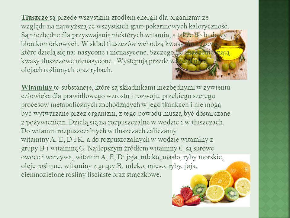 Tłuszcze są przede wszystkim źródłem energii dla organizmu ze względu na najwyższą ze wszystkich grup pokarmowych kaloryczność.