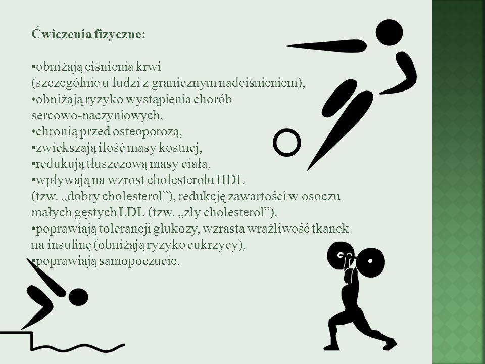 Ćwiczenia fizyczne: obniżają ciśnienia krwi (szczególnie u ludzi z granicznym nadciśnieniem),