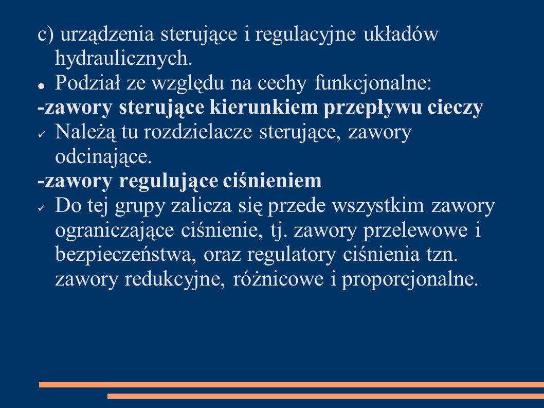 c) urządzenia sterujące i regulacyjne układów hydraulicznych.