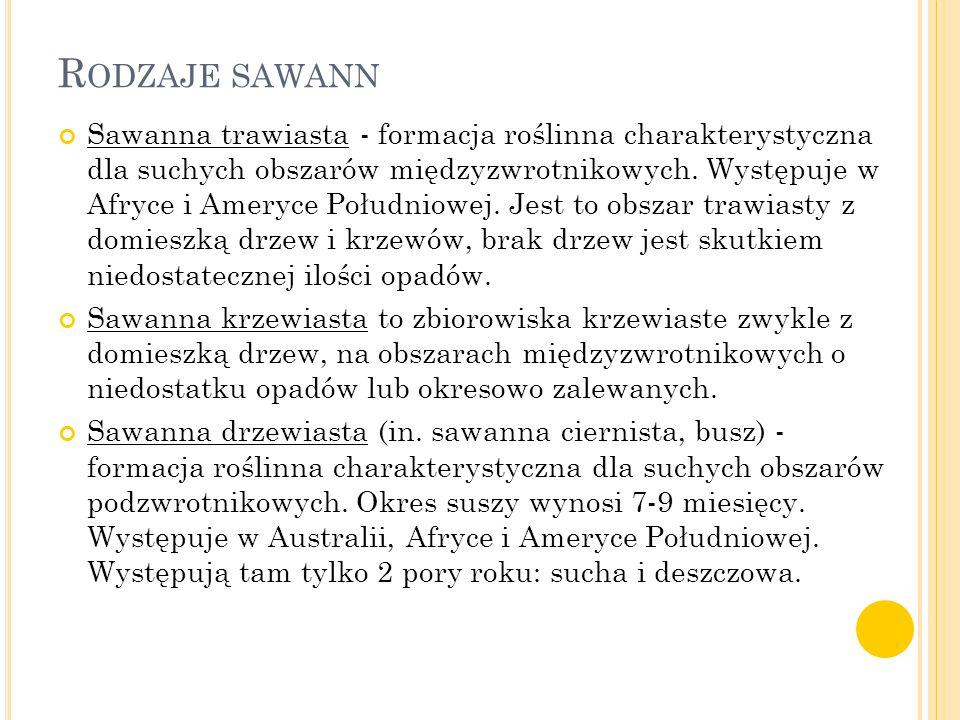 Rodzaje sawann