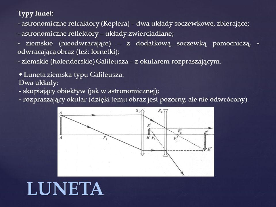 Typy lunet: - astronomiczne refraktory (Keplera) – dwa układy soczewkowe, zbierające; - astronomiczne reflektory – układy zwierciadlane;