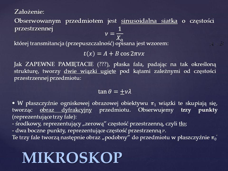 Założenie: Obserwowanym przedmiotem jest sinusoidalna siatka o częstości przestrzennej. 𝜈= 1 𝑋 𝑜.