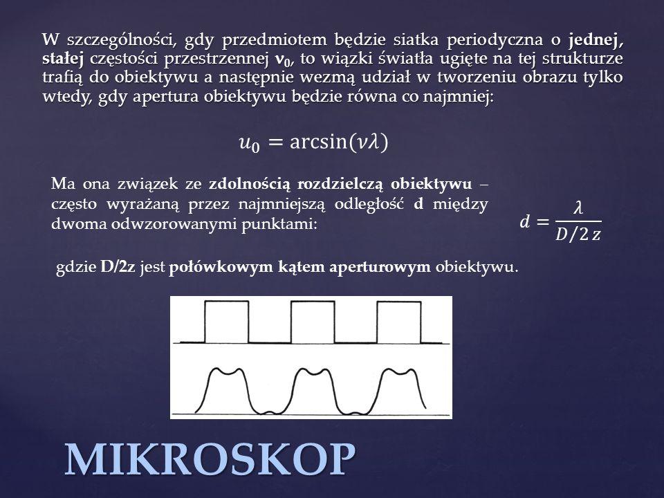 MIKROSKOP 𝑢 0 = arcsin (𝜈𝜆) 𝑑= 𝜆 𝐷 2 𝑧