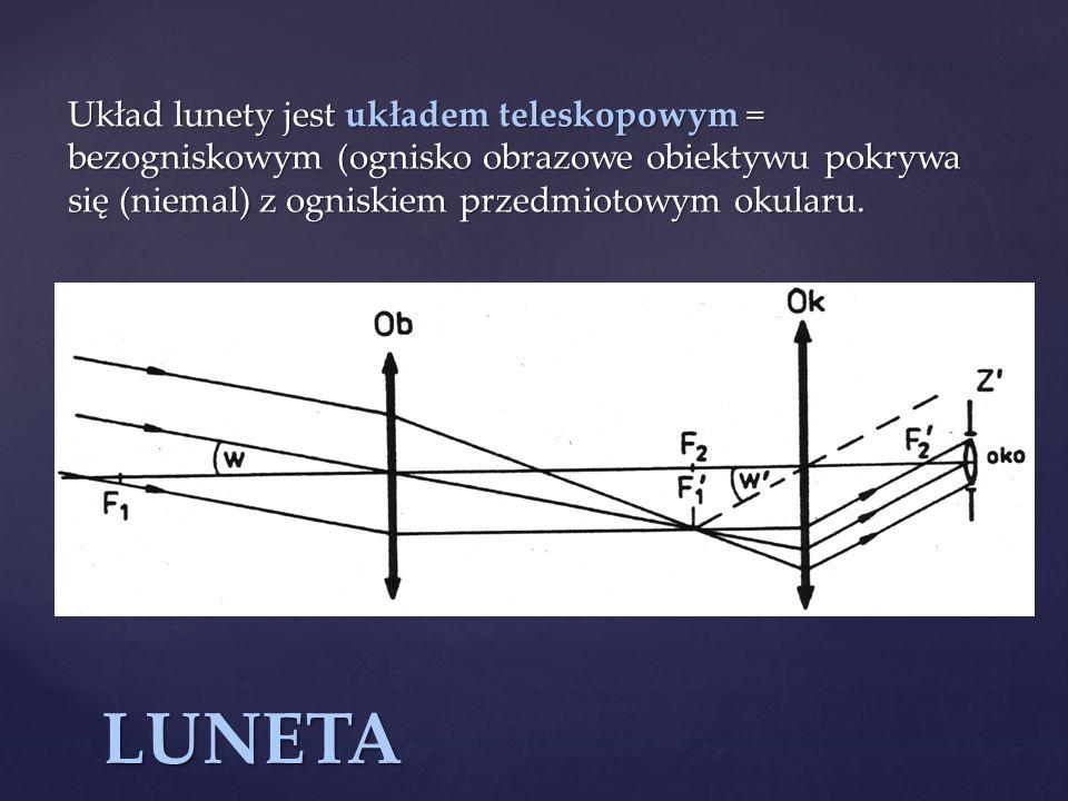 Układ lunety jest układem teleskopowym = bezogniskowym (ognisko obrazowe obiektywu pokrywa się (niemal) z ogniskiem przedmiotowym okularu.