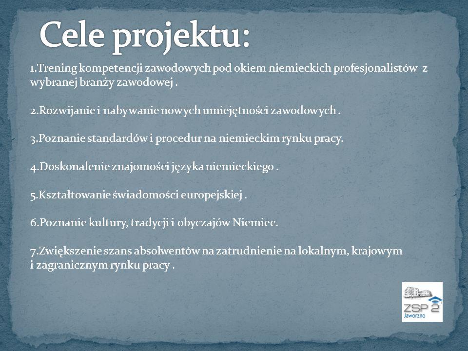 Cele projektu: 1.Trening kompetencji zawodowych pod okiem niemieckich profesjonalistów z wybranej branży zawodowej .