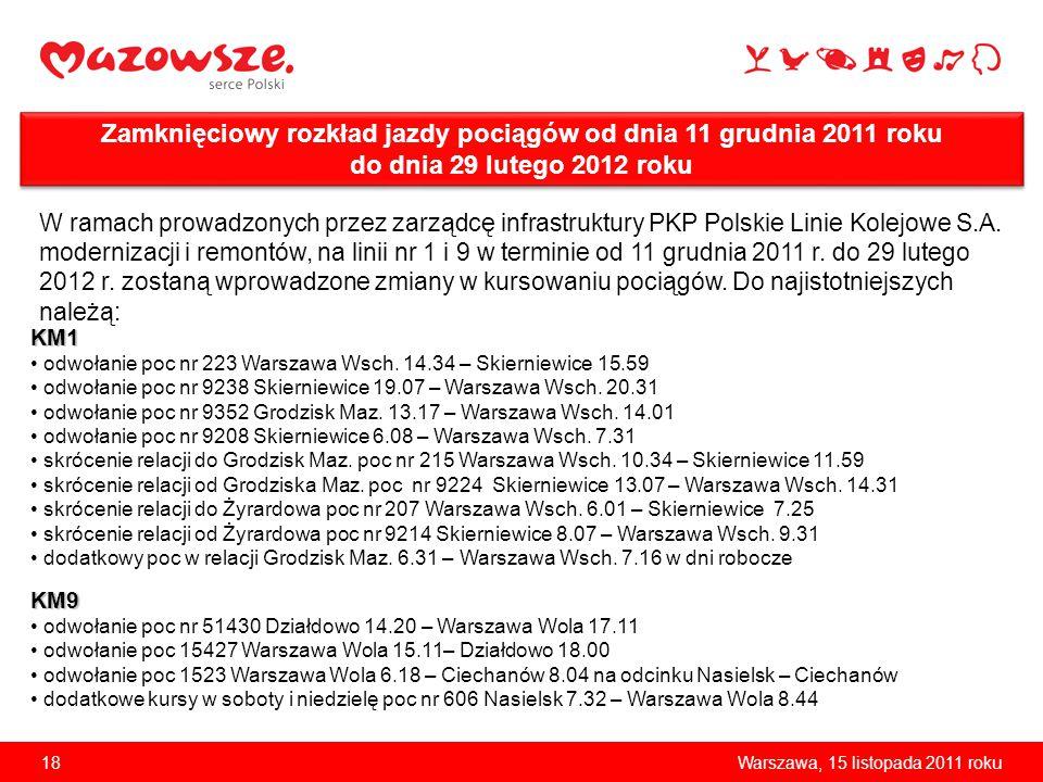 Zamknięciowy rozkład jazdy pociągów od dnia 11 grudnia 2011 roku do dnia 29 lutego 2012 roku