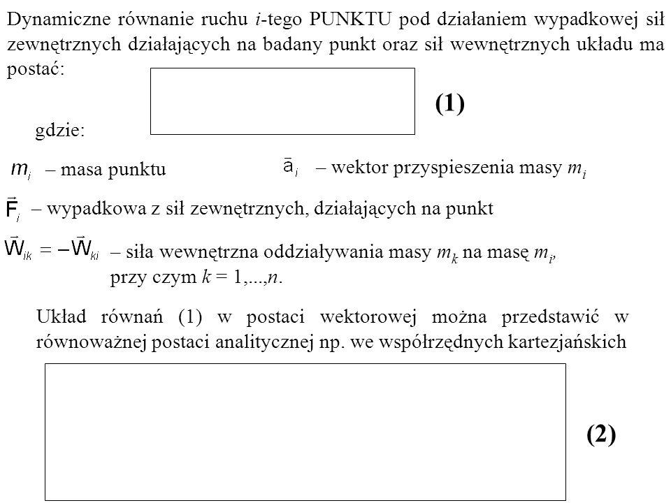 Dynamiczne równanie ruchu i-tego PUNKTU pod działaniem wypadkowej sił zewnętrznych działających na badany punkt oraz sił wewnętrznych układu ma postać: