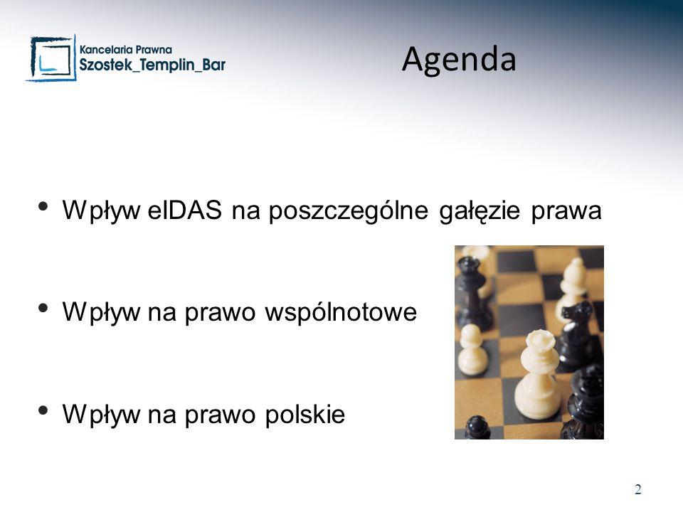 Agenda Wpływ eIDAS na poszczególne gałęzie prawa
