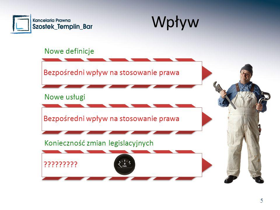 Wpływ Nowe definicje Bezpośredni wpływ na stosowanie prawa Nowe usługi