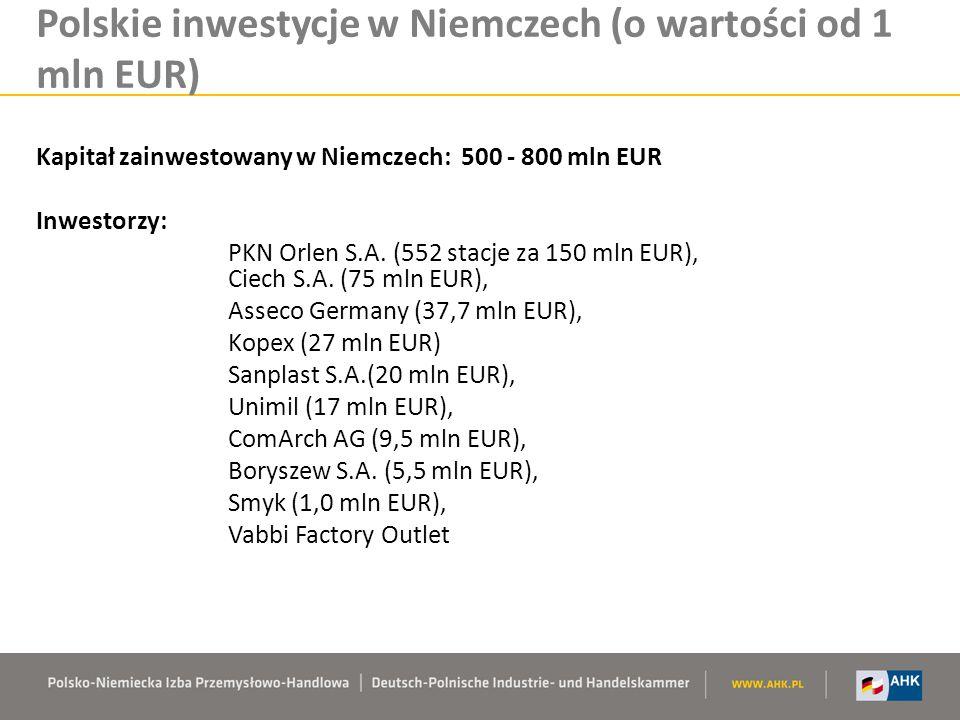 Polskie inwestycje w Niemczech (o wartości od 1 mln EUR)
