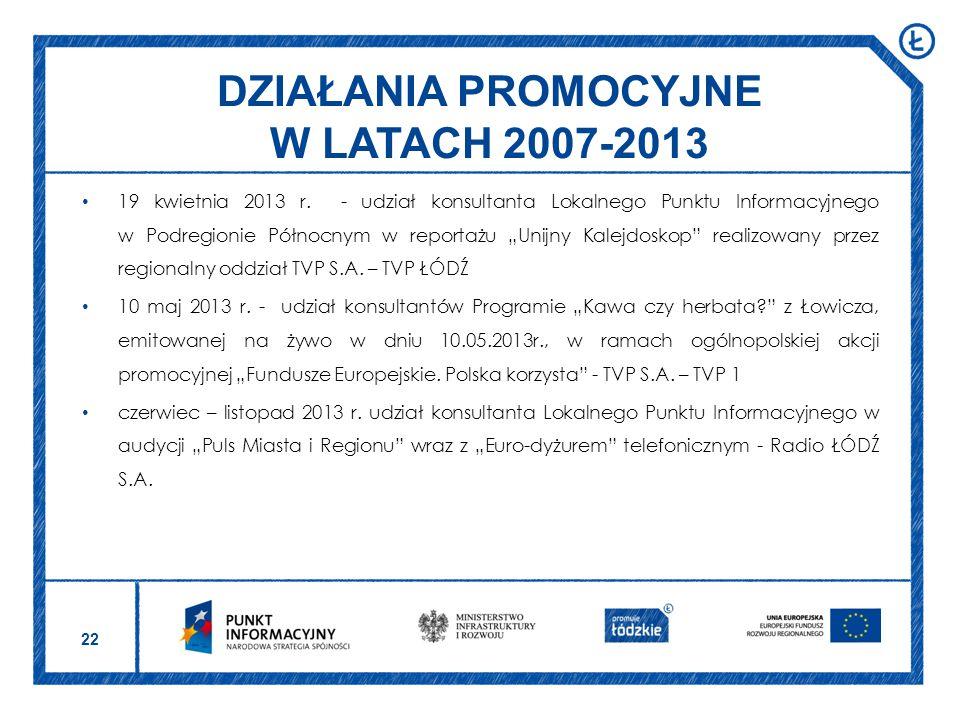 DZIAŁANIA PROMOCYJNE W LATACH 2007-2013
