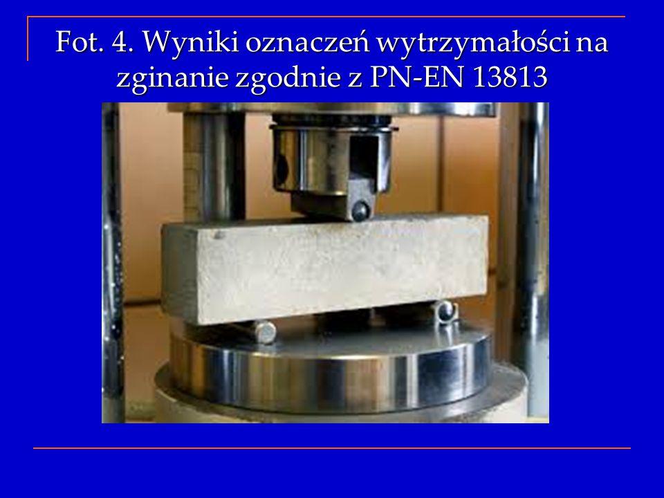 Fot. 4. Wyniki oznaczeń wytrzymałości na zginanie zgodnie z PN-EN 13813