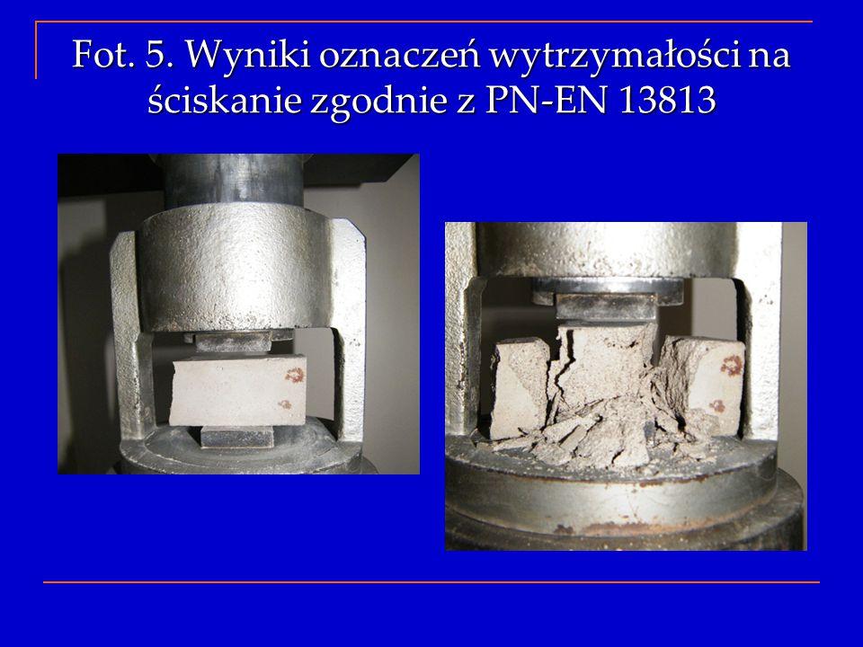 Fot. 5. Wyniki oznaczeń wytrzymałości na ściskanie zgodnie z PN-EN 13813
