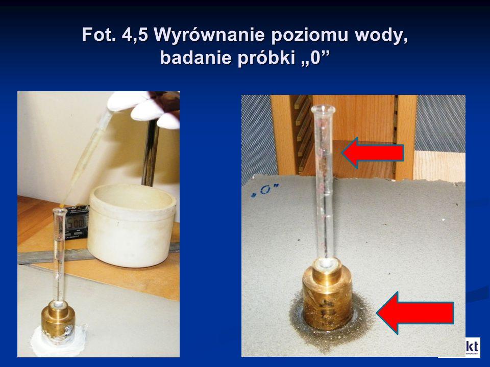 """Fot. 4,5 Wyrównanie poziomu wody, badanie próbki """"0"""