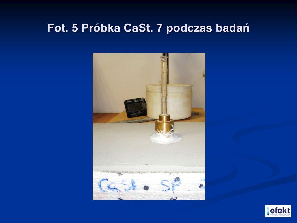 Fot. 5 Próbka CaSt. 7 podczas badań
