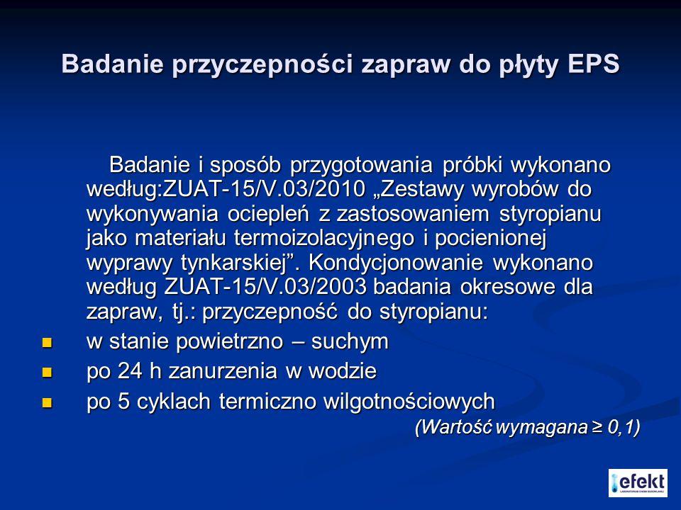 Badanie przyczepności zapraw do płyty EPS