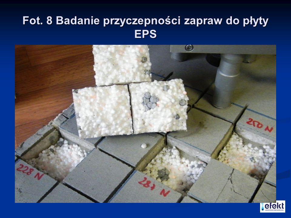 Fot. 8 Badanie przyczepności zapraw do płyty EPS