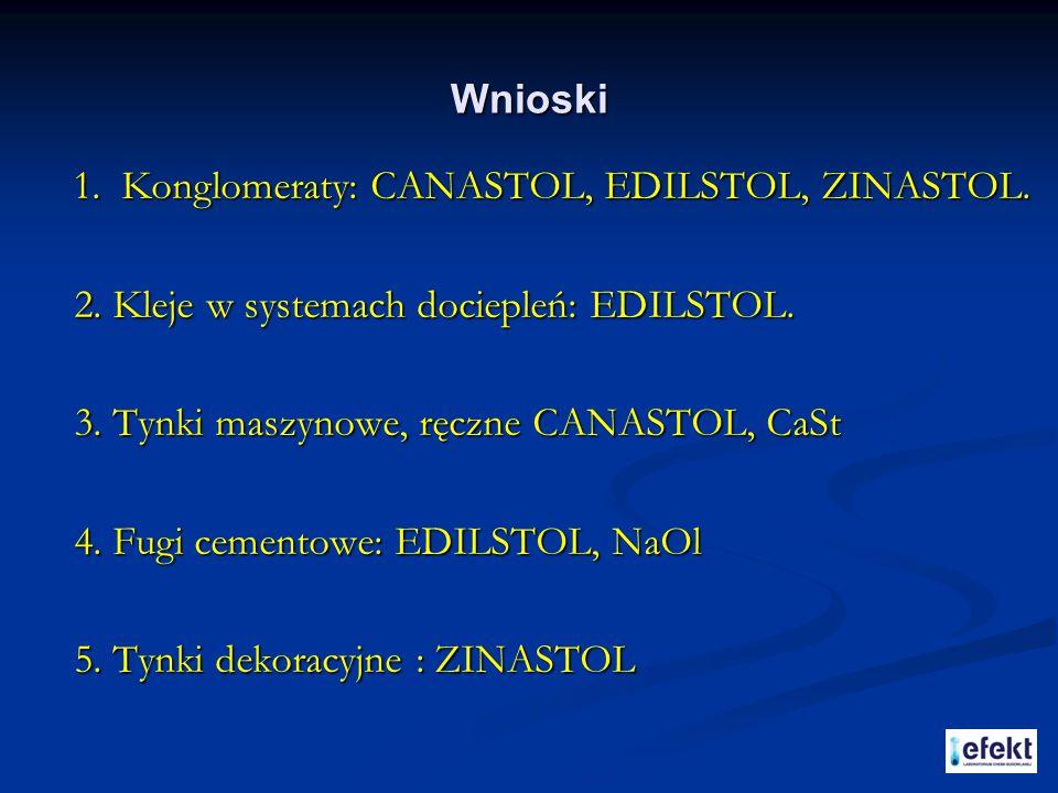 Wnioski 1. Konglomeraty: CANASTOL, EDILSTOL, ZINASTOL. 2. Kleje w systemach dociepleń: EDILSTOL. 3. Tynki maszynowe, ręczne CANASTOL, CaSt.