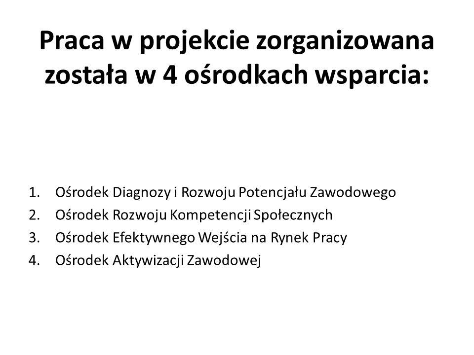 Praca w projekcie zorganizowana została w 4 ośrodkach wsparcia: