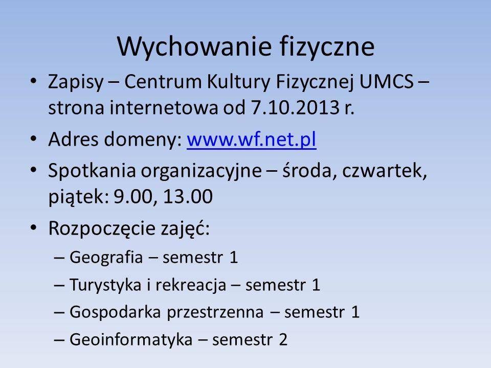 Wychowanie fizyczne Zapisy – Centrum Kultury Fizycznej UMCS – strona internetowa od 7.10.2013 r. Adres domeny: www.wf.net.pl.