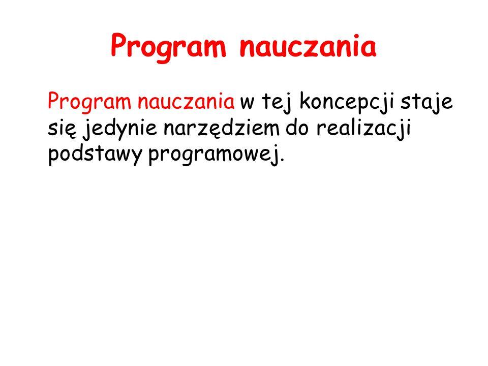 Program nauczania Program nauczania w tej koncepcji staje się jedynie narzędziem do realizacji podstawy programowej.