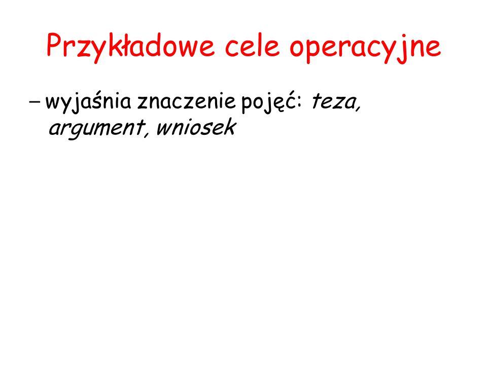 Przykładowe cele operacyjne