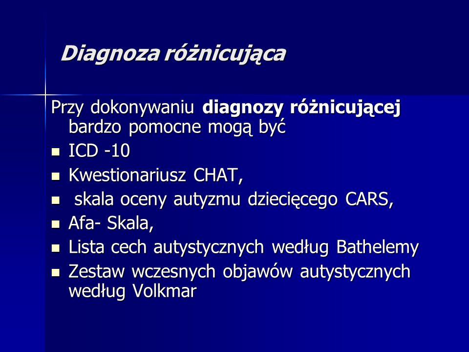 Diagnoza różnicująca Przy dokonywaniu diagnozy różnicującej bardzo pomocne mogą być. ICD -10. Kwestionariusz CHAT,