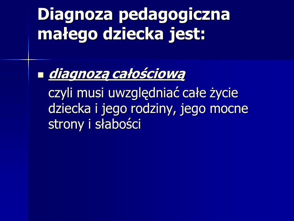 Diagnoza pedagogiczna małego dziecka jest: