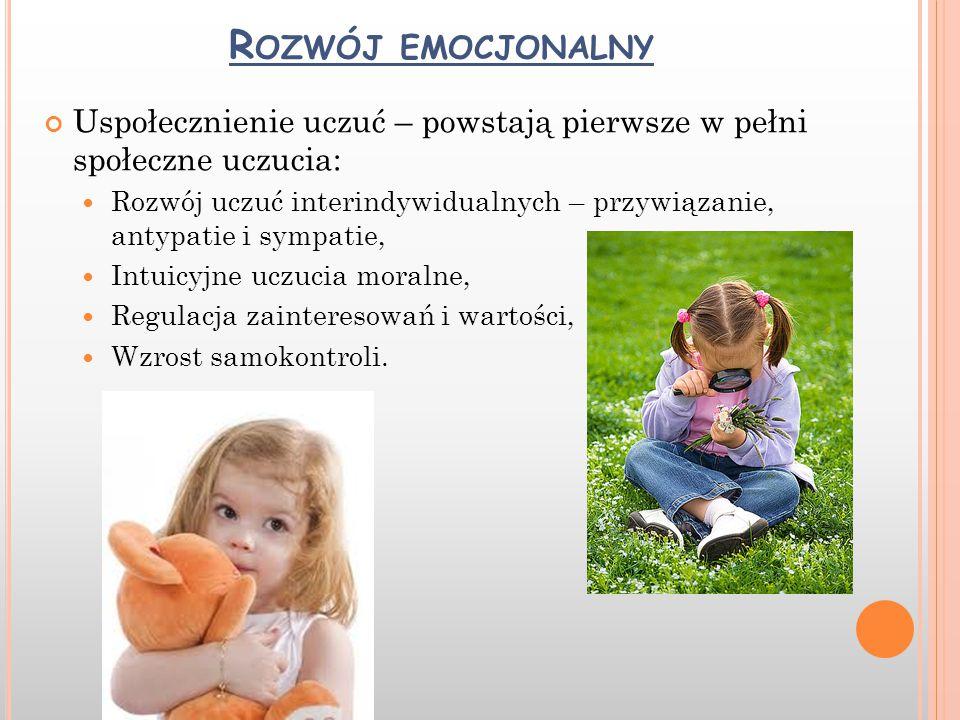 Rozwój emocjonalny Uspołecznienie uczuć – powstają pierwsze w pełni społeczne uczucia: