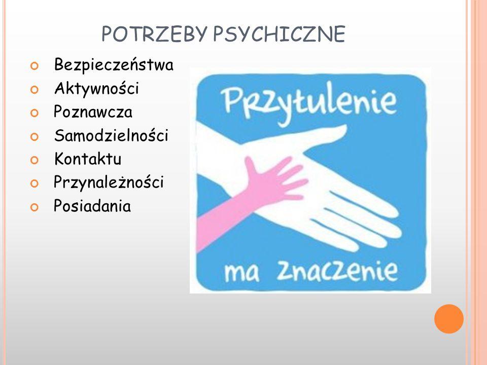 POTRZEBY PSYCHICZNE Bezpieczeństwa Aktywności Poznawcza Samodzielności